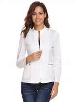 White Women Casual O-Neck Long Sleeve Zipper Jacket with Side Pockets