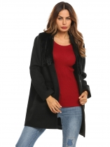 Black Women Stand Collar Faux Fux Patchwork Single-breasted Wool Blend Coat Outerwear