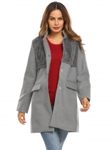 Gray Women Stand Collar Faux Fux Patchwork Single-breasted Wool Blend Coat Outerwear