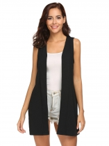 Black Women Sleeveless Cardigan Coat Split Back Open Front Solid Casual Long Vest