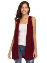 Wine red Women Sleeveless Cardigan Coat Split Back Open Front Solid Casual Long Vest