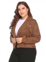Brown Women Turn Down Collar Zip Up Solid Faux Suede Cropped Casual Jacket Plus Size