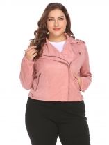 Pink Women Turn Down Collar Zip Up Solid Faux Suede Cropped Casual Jacket Plus Size