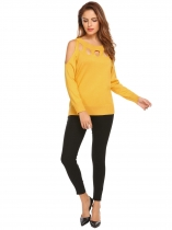 Yellow Women Cold Shoulder Long Sleeve Hollow Out Pullover Sweater