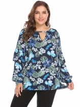 Navy blue Women Long Sleeve Ruffles Keyhole Floral Casual Loose Blouse Casual Top Plus Size