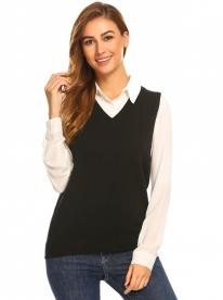 0b6b2d8d7fd12f Black Women V-Neck Sleeveless Solid Slim Fit Thin Knit Pullover Sweater Vest