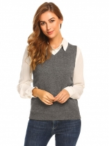 Grey Mulheres V-Neck Sleeveless Sólido Slim Fit Thin Knit Pullover Sweater Vest