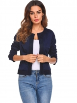 Navy blue Women O-Neck Open Front Lace Patchwork Slim Fit Short Casual Office Jacket