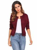 Wine red Women O-Neck Open Front Lace Patchwork Slim Fit Short Casual Office Jacket