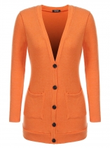 Orange yellow Women Casual V Neck Long Sleeve Solid Button Front Knit Cardigan Sweater