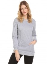 Light gray Women Hooded Solid Slim Fit Casual Pullover Hoodie