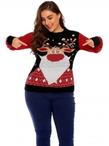 Black Women Plus Size Casual Long Sleeve Christmas Printed Sweater