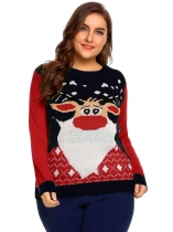 Navy blue Women Plus Size Casual Long Sleeve Christmas Printed Sweater