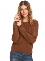Coffee Women O-Neck Long Sleeve Hollow Out Pullover Casual Knit Sweater