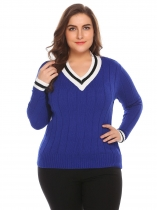 Royal Blue Women V-Neck Long Sleeve Casual Patchwork Pullover Sweater Plus Size