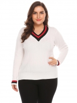 White Women V-Neck Long Sleeve Casual Patchwork Pullover Sweater Plus Size