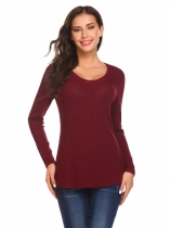 Wine red Women Casual O Neck Long Sleeve Back Hole Solid Irregular Hem Blouse Tops