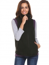 Black Women Casual High-Neck Sleeveles Zip-up Fleece Vest