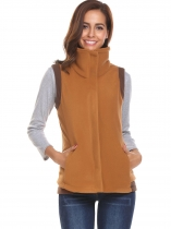 Brown Women Casual High-Neck Sleeveles Zip-up Fleece Vest