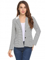 Black Women Notch Lapel Long Sleeve Striped Two Button Casual Blazer