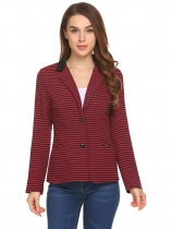 Red Women Notch Lapel Long Sleeve Striped Two Button Casual Blazer