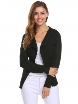 Black Women Casual Long Sleeve Ribbed Knit Open Front Coat