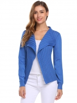 Blue Women Casual Long Sleeve Ribbed Knit Open Front Coat