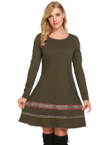 Army green Women Bohemian Style Long Sleeve Casual A-Line Short Dress
