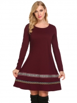 Wine red Women Bohemian Style Long Sleeve Casual A-Line Short Dress