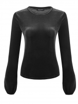 Black Women O-Neck Long Sleeve Solid Casual Velvet Short Slim Fit Casual Top