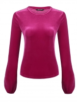 Rose red Women O-Neck Long Sleeve Solid Casual Velvet Short Slim Fit Casual Top