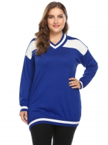 Royal Blue Women V-Neck Drop-Shoulder Patchwork Thin Knit Pullover Sweater Plus Size