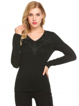 Black Women V-Neck Long Sleeve Lace Patchwork Slim Fit Casual T-Shirt Top
