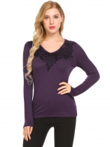 Purple Women V-Neck Long Sleeve Lace Patchwork Slim Fit Casual T-Shirt Top