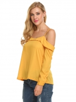 Dark Yellow Femmes Casual Cut Off épaule Spaghetti Strap Solid Loose Top Cami Blouse