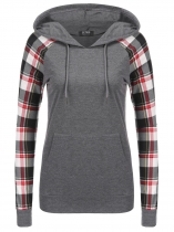 Gray Plaid Floral Print Long Sleeve Pullover Hoodie Contrast Color
