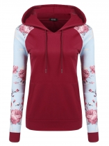 Wine red Plaid Floral Print Long Sleeve Pullover Hoodie Contrast Color
