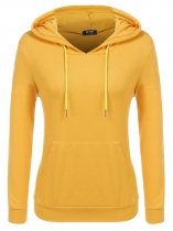Yellow Women Casual Long Sleeve Hooded Pullover Embroidery Hoodie with Kangaroo Pocket
