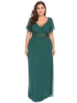 Tmavě zelená Women Plus Size Sexy Deep V-Neck Short Sleeve Chiffon Maxi Dress