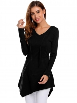 Black Women Casual Hooded Long Sleeve Pullover Solid Hoodie