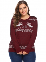 Vermelho Mulheres O-Neck manga comprida Natal Print Casual Knit Pullover Sweater Plus