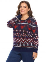 Navy blue Women Plus Size O-Neck Long Sleeve Christmas Geometric Casual Pullover Sweater