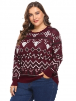 Wine red Women Plus Size O-Neck Long Sleeve Christmas Geometric Casual Pullover Sweater