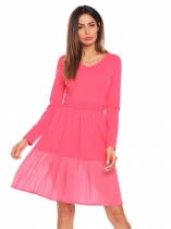 Watermelon red Women V-Neck Long Sleeve Ruched Waist Fit and Flare Casual Pleated Dress