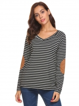 Black Women V-Neck Long Sleeve Elbow Patchwork Striped Casual Loose T-Shirt Top