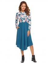 Royal Blue Women O Neck Long Sleeve Floral Printed Patchwork Elastic Waist Pleated Dress