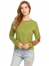 Army green Women Casual Round Neck Long Sleeve Embroidery Loose Graphic Tee T Shirt