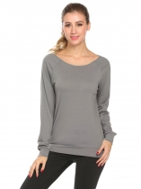 Gray Women Casual Round Neck Long Sleeve Back Hollow Yoga Top  T Shirt