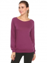 Purple Red Women Casual Round Neck Long Sleeve Back Hollow Yoga Top  T Shirt
