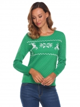 Green Women Knit Pullover Jacquard Sweater Round Neck Long Sleeve Christmas Print